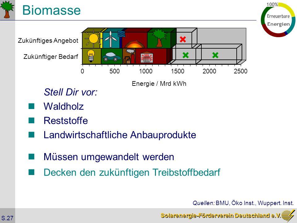 Solarenergie-Förderverein Deutschland e.V. S.27 Biomasse Stell Dir vor: Waldholz Reststoffe Landwirtschaftliche Anbauprodukte Müssen umgewandelt werde