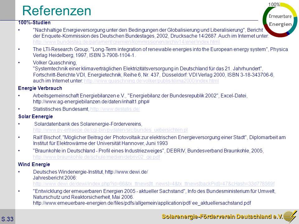 Solarenergie-Förderverein Deutschland e.V. S.33 Referenzen 100%-Studien