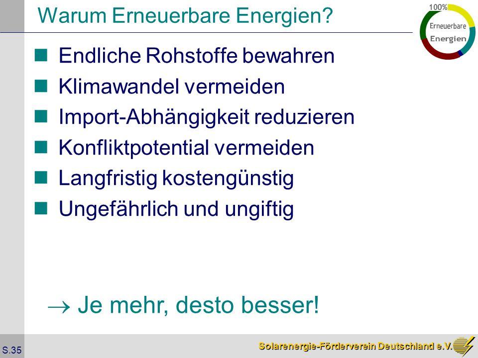 Solarenergie-Förderverein Deutschland e.V. S.35 Warum Erneuerbare Energien? Endliche Rohstoffe bewahren Klimawandel vermeiden Import-Abhängigkeit redu