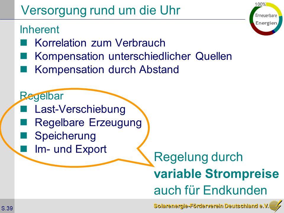 Solarenergie-Förderverein Deutschland e.V. S.39 Versorgung rund um die Uhr Inherent Korrelation zum Verbrauch Kompensation unterschiedlicher Quellen K