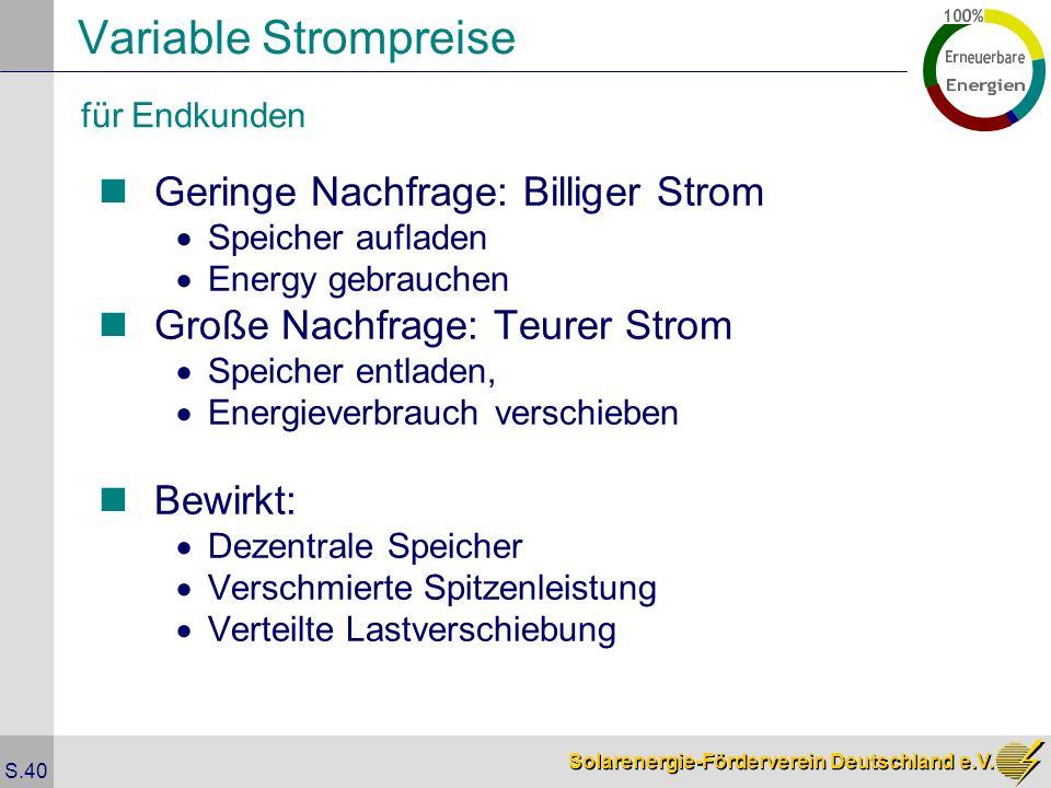 Solarenergie-Förderverein Deutschland e.V. S.40 Variable Strompreise Geringe Nachfrage: Billiger Strom Speicher aufladen Energy gebrauchen Große Nachf