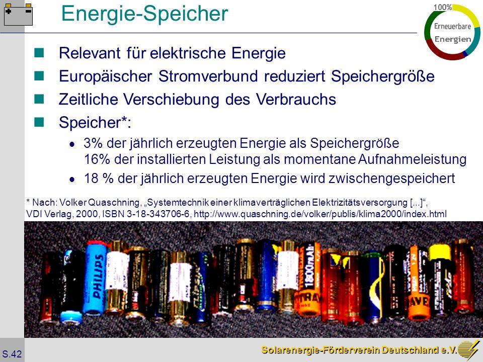 Solarenergie-Förderverein Deutschland e.V. S.42 Energie-Speicher Relevant für elektrische Energie Europäischer Stromverbund reduziert Speichergröße Ze