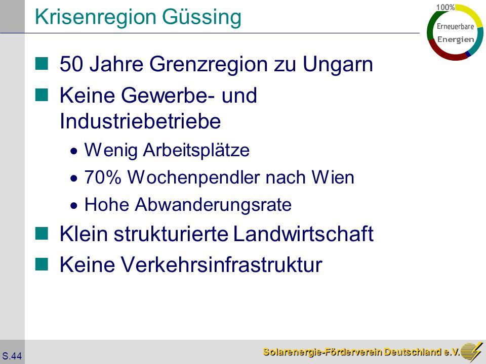 Solarenergie-Förderverein Deutschland e.V. S.44 Krisenregion Güssing 50 Jahre Grenzregion zu Ungarn Keine Gewerbe- und Industriebetriebe Wenig Arbeits