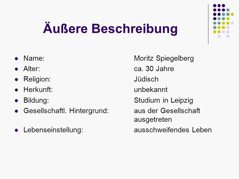 Äußere Beschreibung Name:Moritz Spiegelberg Alter: ca. 30 Jahre Religion:Jüdisch Herkunft: unbekannt Bildung:Studium in Leipzig Gesellschaftl. Hinterg