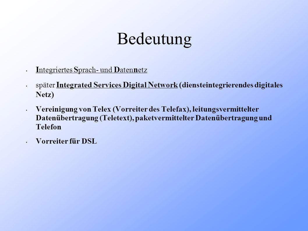 Entwicklung 1970: von der I nternational T elecommunication U nion erstmals für das Telefonnetz vorgeschlagen 1980: verabschiedet 1988: Gründung des E uropean T elecommunication S tandard I nstitutes zur Standardtisierung des ISDN in Europa 1989: Vereinheitlichung von 26 Netzbtreibern aus 20 europäischen Ländern Ende 1993: Einführung des EURO – ISDN 1995: digitale Telefonnetze in gesamt Deutschland 2002/2003: Deutschland mit mehr als 30 % der weltweiten ISDN - Anschlüsse