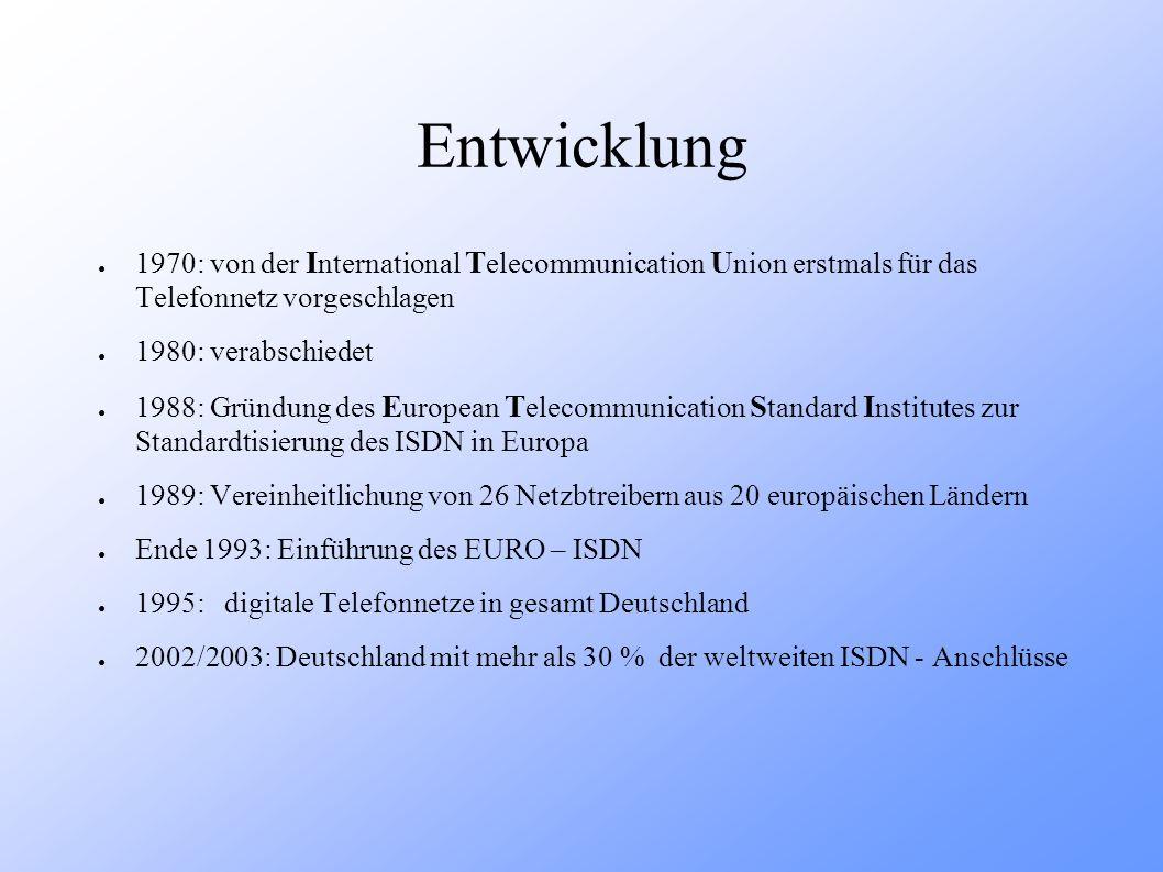 Entwicklung 1970: von der I nternational T elecommunication U nion erstmals für das Telefonnetz vorgeschlagen 1980: verabschiedet 1988: Gründung des E