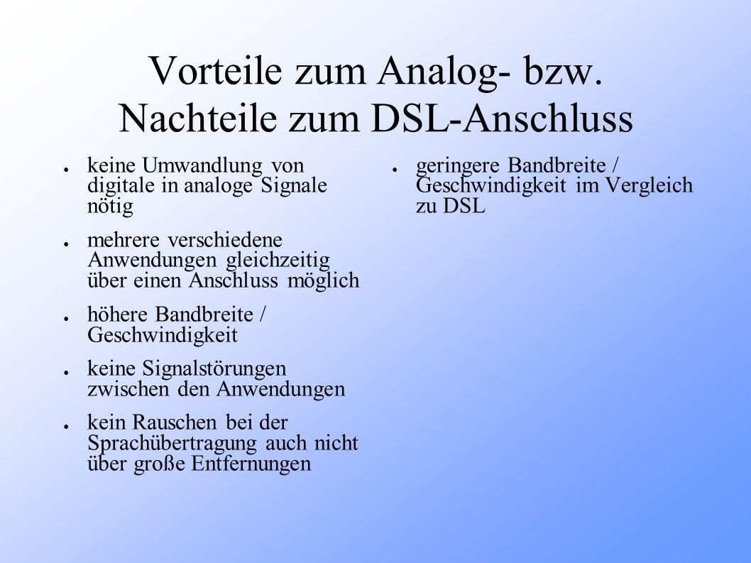 Vorteile zum Analog- bzw. Nachteile zum DSL-Anschluss keine Umwandlung von digitale in analoge Signale nötig mehrere verschiedene Anwendungen gleichze