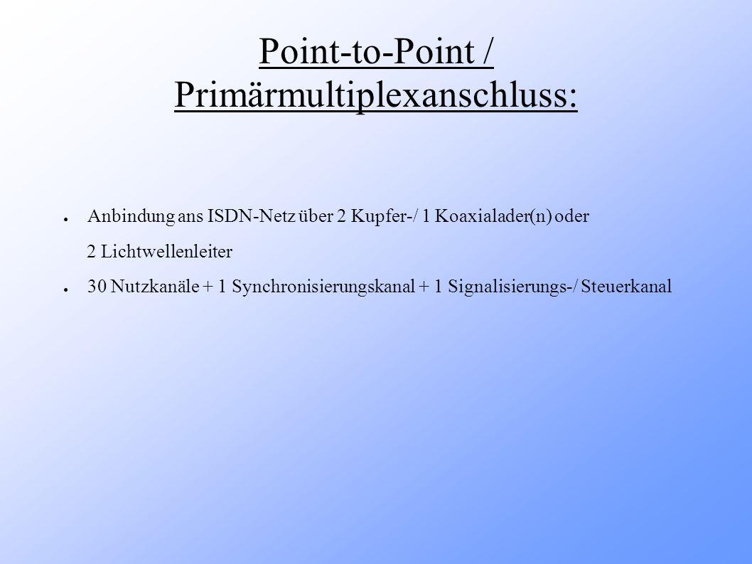 Anschlusstypen Anschluss:Point-to- Multipoint Point-to-PointPrimärmultiplex- anschluss Benutzer / Endgeräte: ein Benutzer / 8 Endgeräte ein Benutzer / ein Gerät 30 Benutzer / ein Endgerät Übertragungstechnik:synchron Übertragungsrate: ( Nutzleitung [N] / Steuerleitung [S] ) 2x N: 64 kb/s 1x S: 16 kb/s 2x N: 64 kb/s 1x S: 16 kb/s 30x N: 64 kb/s 1 Zusatzl.: 64 kb/s 1x S: 64 kb/s
