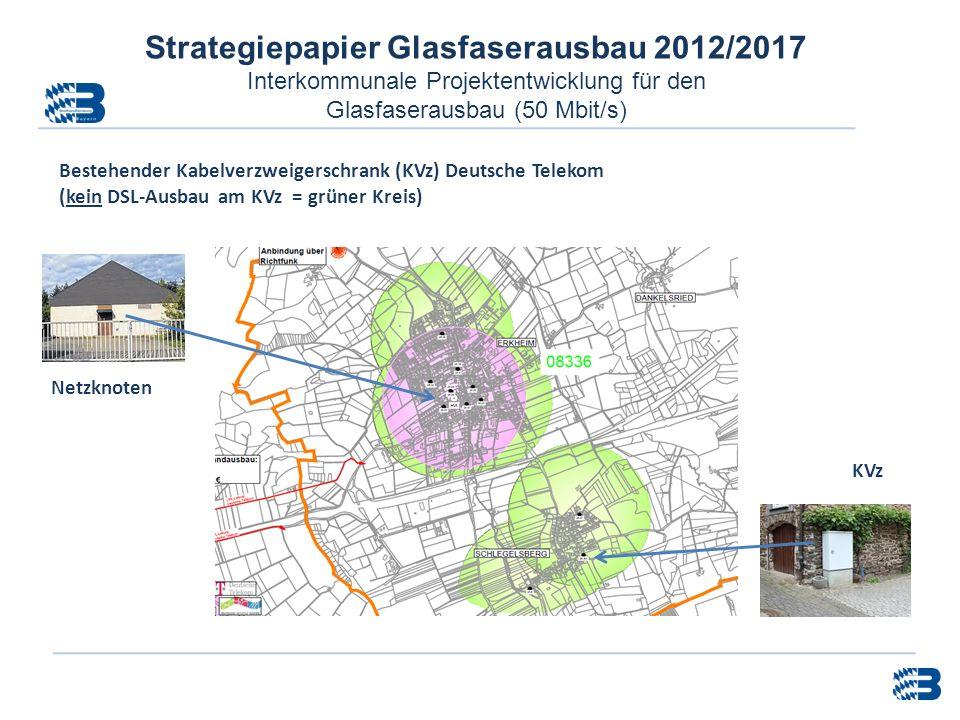Strategiepapier Glasfaserausbau 2012/2017 Interkommunale Projektentwicklung für den Glasfaserausbau (50 Mbit/s) Bestehender Kabelverzweigerschrank (KV