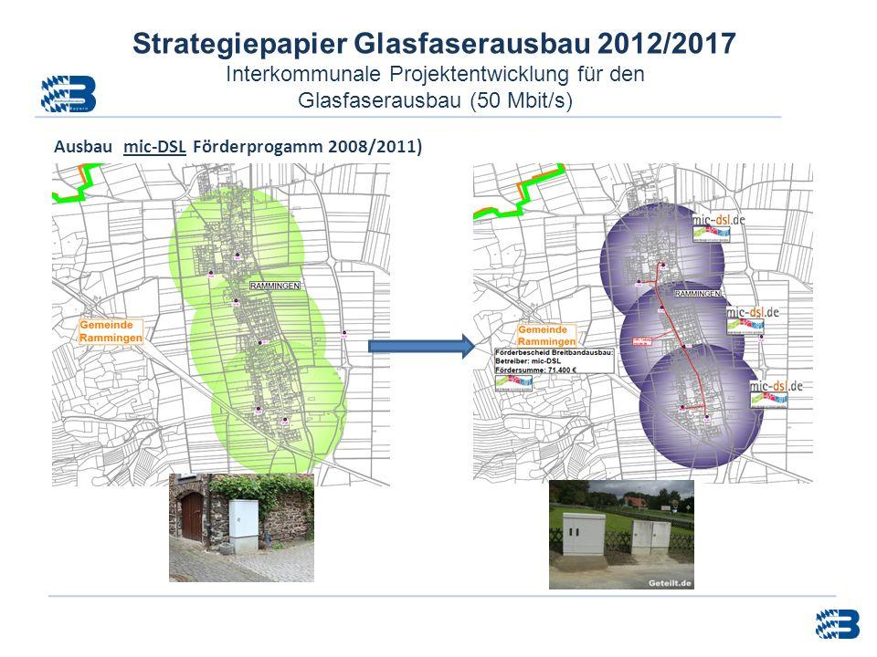 Strategiepapier Glasfaserausbau 2012/2017 Interkommunale Projektentwicklung für den Glasfaserausbau (50 Mbit/s) Ausbau mic-DSL Förderprogamm 2008/2011