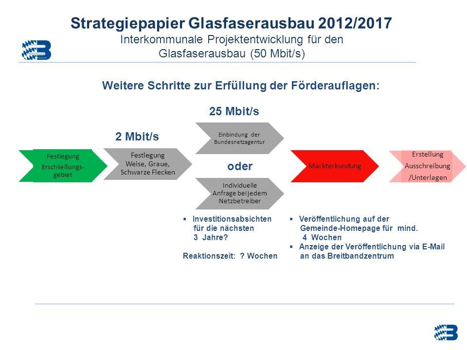 Strategiepapier Glasfaserausbau 2012/2017 Interkommunale Projektentwicklung für den Glasfaserausbau (50 Mbit/s) Markterkundung Festlegung Weise, Graue