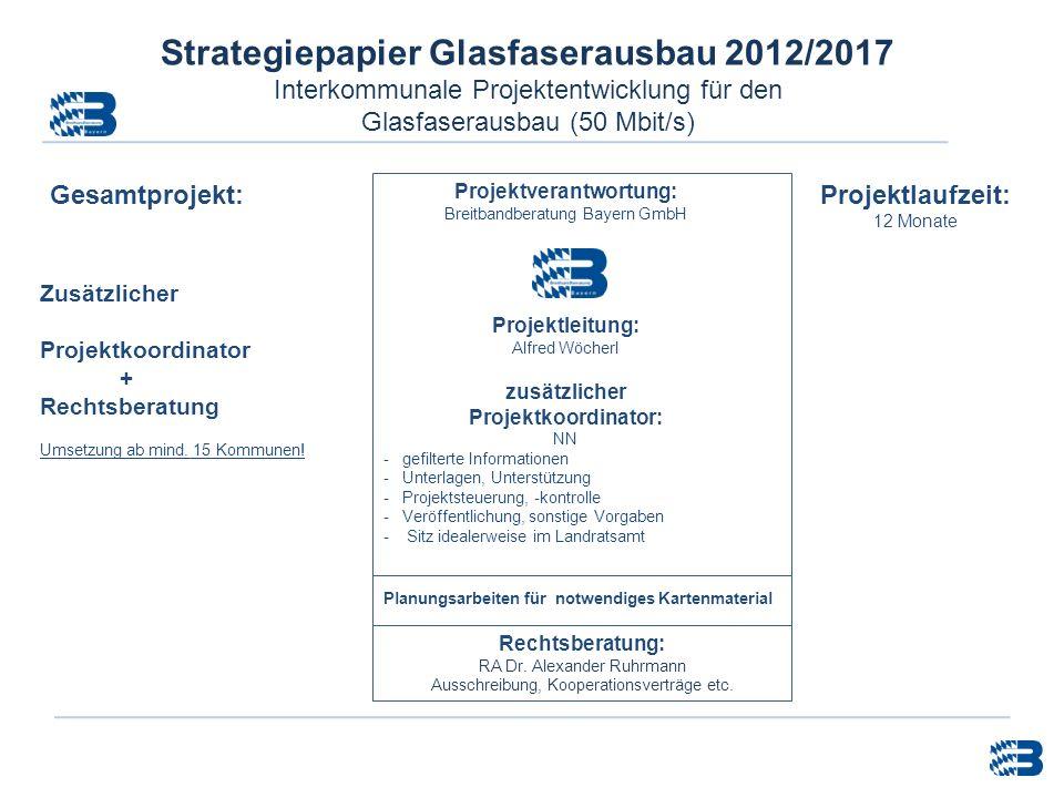 Strategiepapier Glasfaserausbau 2012/2017 Interkommunale Projektentwicklung für den Glasfaserausbau (50 Mbit/s) Gesamtprojekt: Projektleitung: Alfred