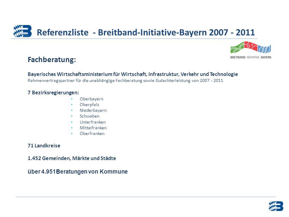 Referenzliste - Breitband-Initiative-Bayern 2007 - 2011 Fachberatung: Bayerisches Wirtschaftsministerium für Wirtschaft, Infrastruktur, Verkehr und Te
