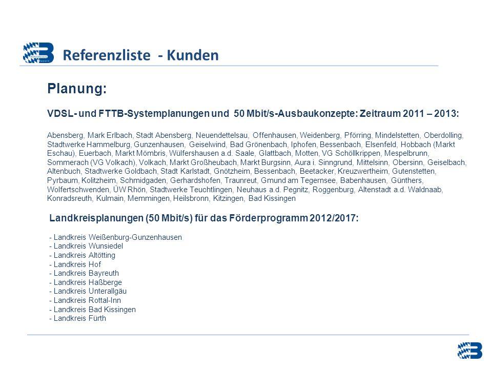 Referenzliste - Kunden Planung: VDSL- und FTTB-Systemplanungen und 50 Mbit/s-Ausbaukonzepte: Zeitraum 2011 – 2013: Abensberg, Mark Erlbach, Stadt Aben