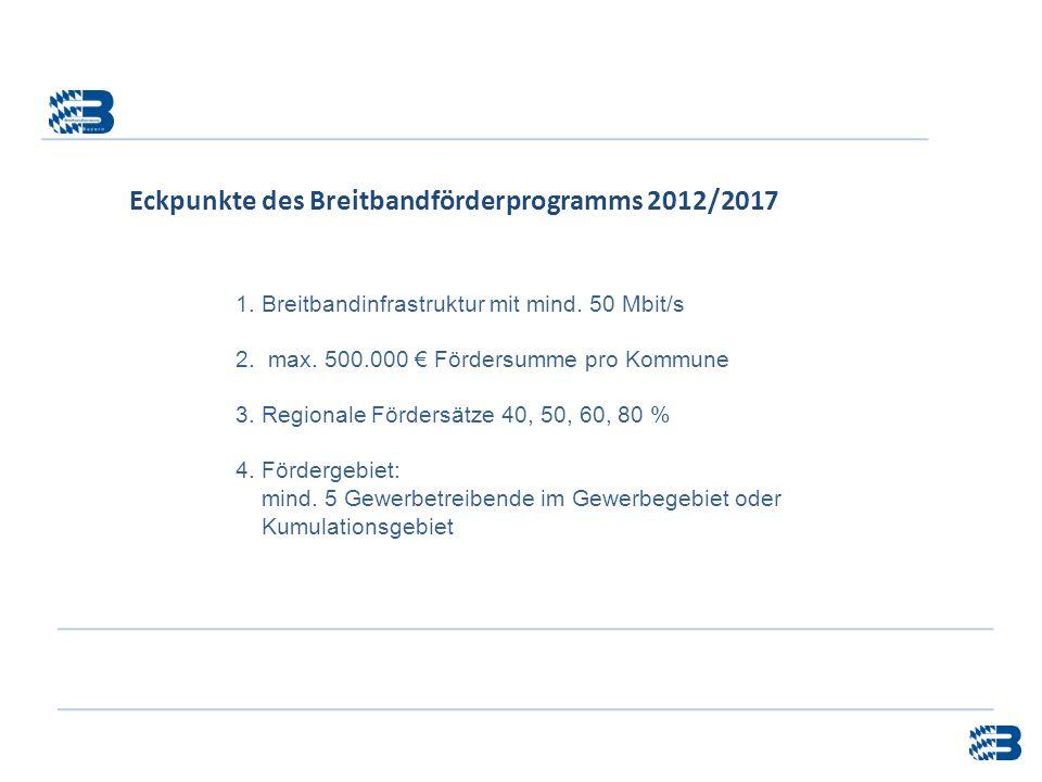 1. Breitbandinfrastruktur mit mind. 50 Mbit/s 2. max. 500.000 Fördersumme pro Kommune 3. Regionale Fördersätze 40, 50, 60, 80 % 4. Fördergebiet: mind.