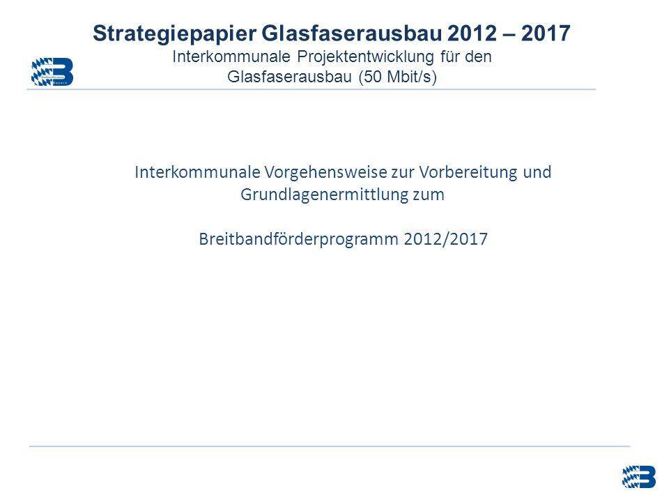 Strategiepapier Glasfaserausbau 2012 – 2017 Interkommunale Projektentwicklung für den Glasfaserausbau (50 Mbit/s) Interkommunale Vorgehensweise zur Vo