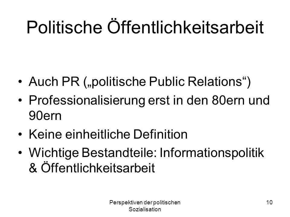 Perspektiven der politischen Sozialisation 10 Politische Öffentlichkeitsarbeit Auch PR (politische Public Relations) Professionalisierung erst in den