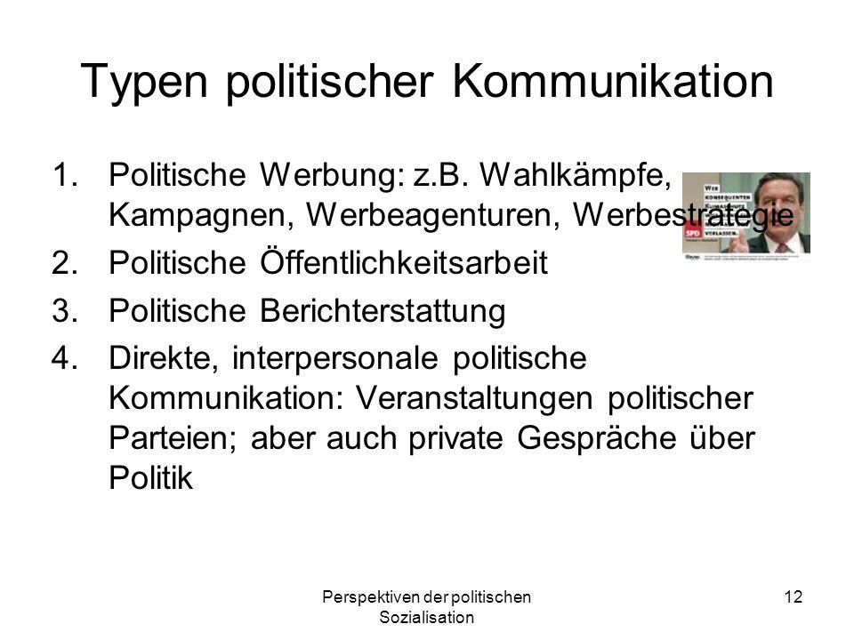 Perspektiven der politischen Sozialisation 12 Typen politischer Kommunikation 1.Politische Werbung: z.B. Wahlkämpfe, Kampagnen, Werbeagenturen, Werbes