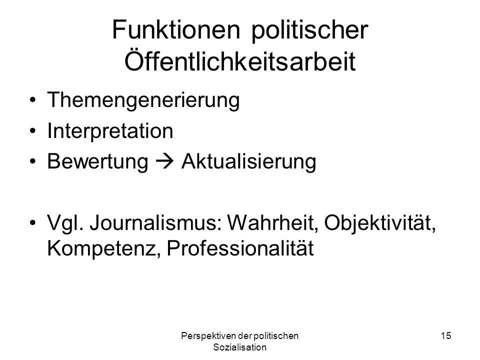Perspektiven der politischen Sozialisation 15 Funktionen politischer Öffentlichkeitsarbeit Themengenerierung Interpretation Bewertung Aktualisierung V