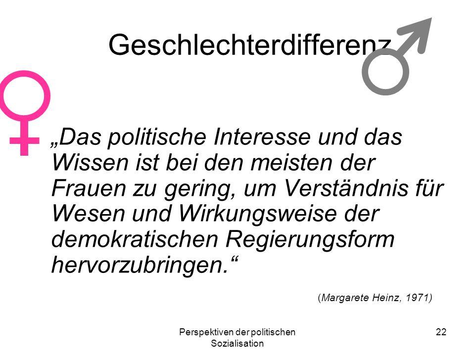 Perspektiven der politischen Sozialisation 22 Geschlechterdifferenz Das politische Interesse und das Wissen ist bei den meisten der Frauen zu gering,
