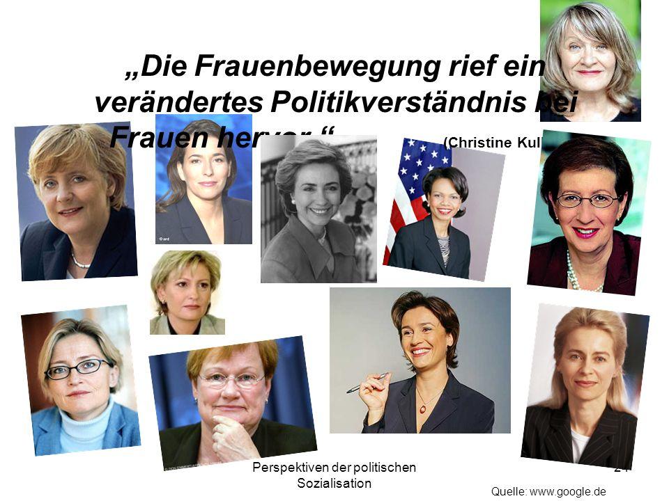 Perspektiven der politischen Sozialisation 24 Die Frauenbewegung rief ein verändertes Politikverständnis bei Frauen hervor. (Christine Kulke) Quelle: