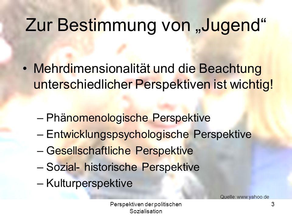Perspektiven der politischen Sozialisation 4 Brockhaus: Jugend, Lebensalterstufe, deren Definition und altersmäßige Bestimmung i.d.R.