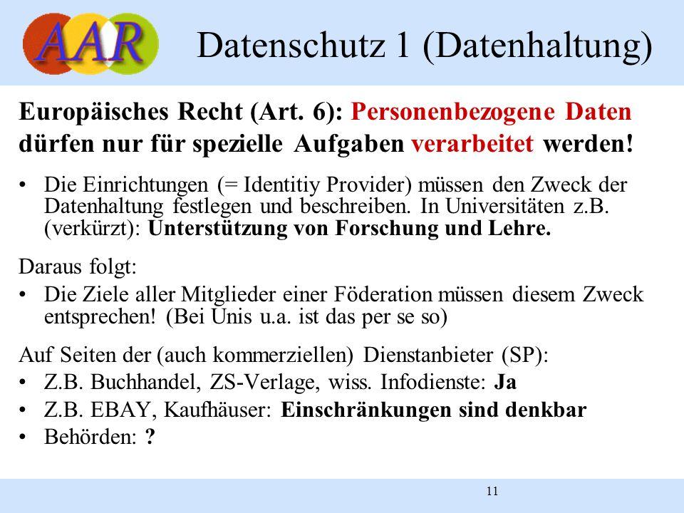 11 Datenschutz 1 (Datenhaltung) Europäisches Recht (Art. 6): Personenbezogene Daten dürfen nur für spezielle Aufgaben verarbeitet werden! Die Einricht
