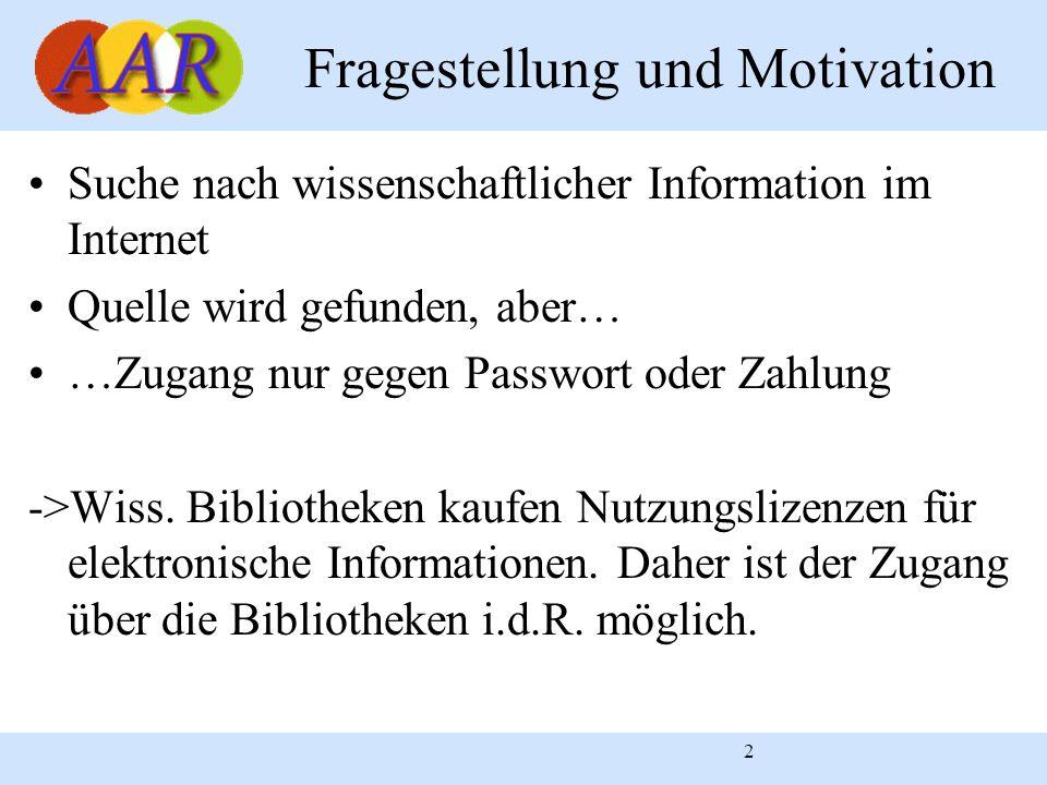 2 Fragestellung und Motivation Suche nach wissenschaftlicher Information im Internet Quelle wird gefunden, aber… …Zugang nur gegen Passwort oder Zahlu