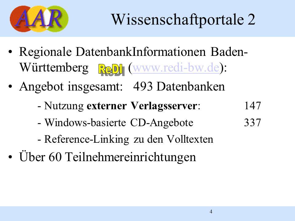 4 Wissenschaftportale 2 Regionale DatenbankInformationen Baden- Württemberg (www.redi-bw.de):www.redi-bw.de Angebot insgesamt: 493 Datenbanken - Nutzu