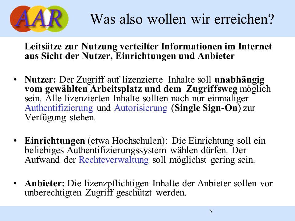 5 Leitsätze zur Nutzung verteilter Informationen im Internet aus Sicht der Nutzer, Einrichtungen und Anbieter Nutzer: Der Zugriff auf lizenzierte Inha