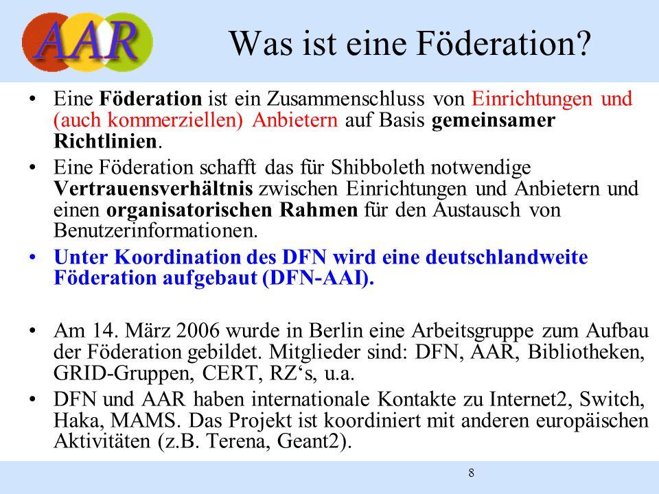 8 Eine Föderation ist ein Zusammenschluss von Einrichtungen und (auch kommerziellen) Anbietern auf Basis gemeinsamer Richtlinien. Eine Föderation scha