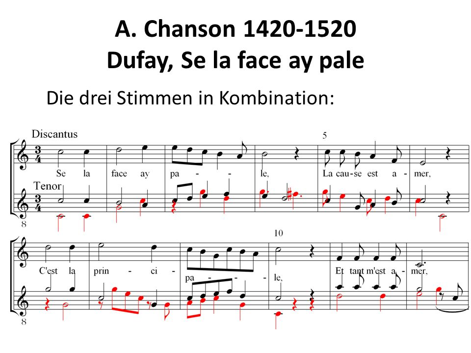 A. Chanson 1420-1520 Dufay, Se la face ay pale Die drei Stimmen in Kombination: