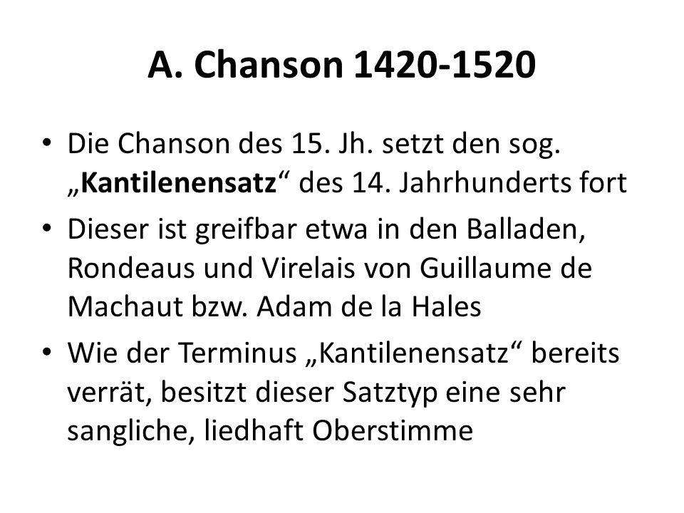 A. Chanson 1420-1520 Die Chanson des 15. Jh. setzt den sog.Kantilenensatz des 14. Jahrhunderts fort Dieser ist greifbar etwa in den Balladen, Rondeaus