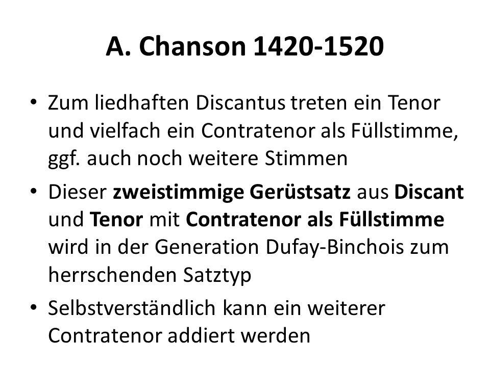 A. Chanson 1420-1520 Zum liedhaften Discantus treten ein Tenor und vielfach ein Contratenor als Füllstimme, ggf. auch noch weitere Stimmen Dieser zwei