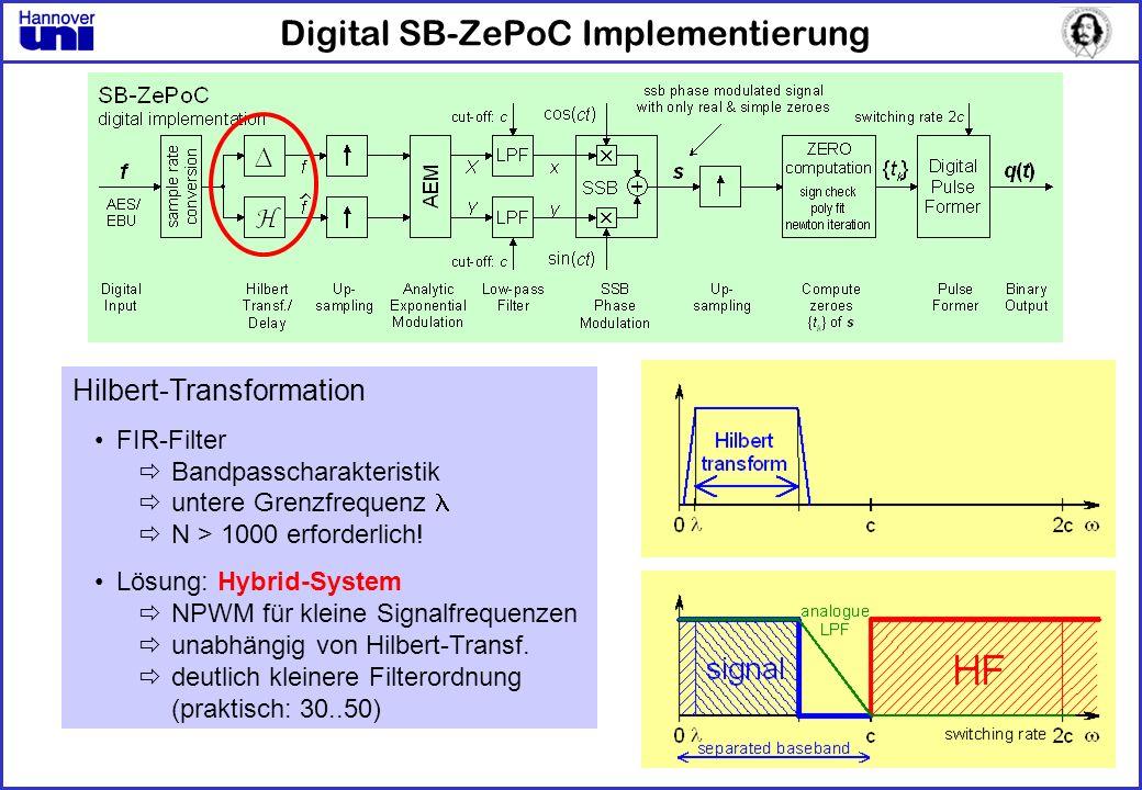 Digital SB-ZePoC Implementierung Hilbert-Transformation FIR-Filter Bandpasscharakteristik untere Grenzfrequenz N > 1000 erforderlich! Lösung: Hybrid-S