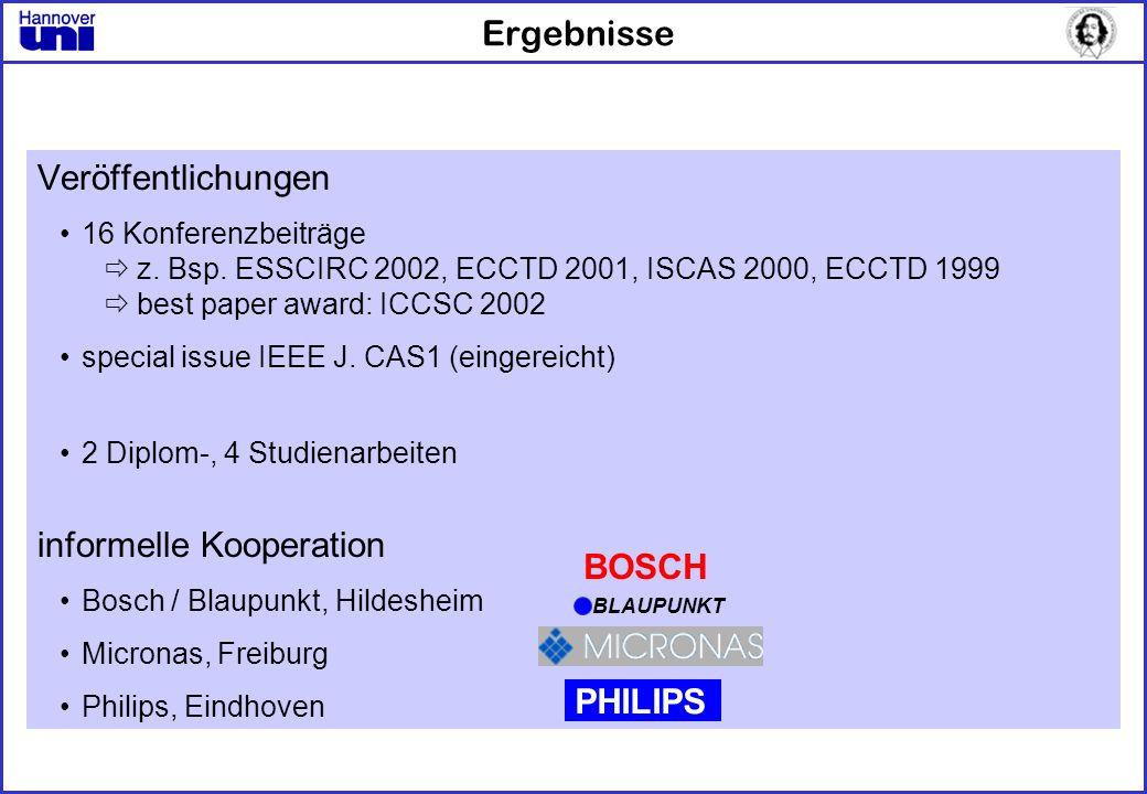 Ergebnisse Veröffentlichungen 16 Konferenzbeiträge z. Bsp. ESSCIRC 2002, ECCTD 2001, ISCAS 2000, ECCTD 1999 best paper award: ICCSC 2002 special issue
