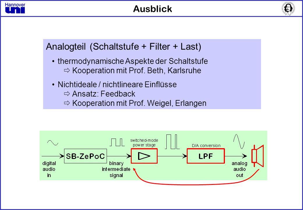 Ausblick Analogteil (Schaltstufe + Filter + Last) thermodynamische Aspekte der Schaltstufe Kooperation mit Prof. Beth, Karlsruhe Nichtideale / nichtli