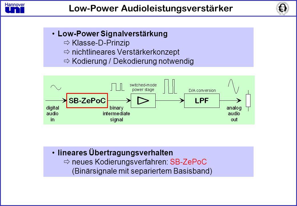 Low-Power Audioleistungsverstärker Low-Power Signalverstärkung Klasse-D-Prinzip nichtlineares Verstärkerkonzept Kodierung / Dekodierung notwendig line