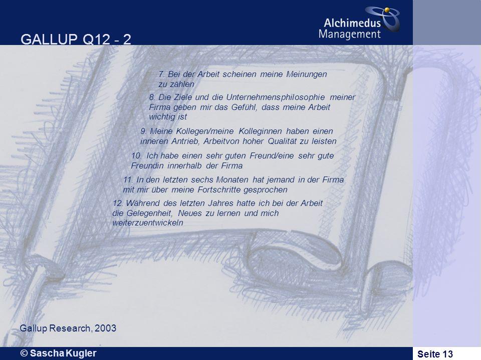 © Sascha Kugler Seite 13 GALLUP Q12 - 2 Gallup Research, 2003 7.Bei der Arbeit scheinen meine Meinungen zu zählen 8.Die Ziele und die Unternehmensphil
