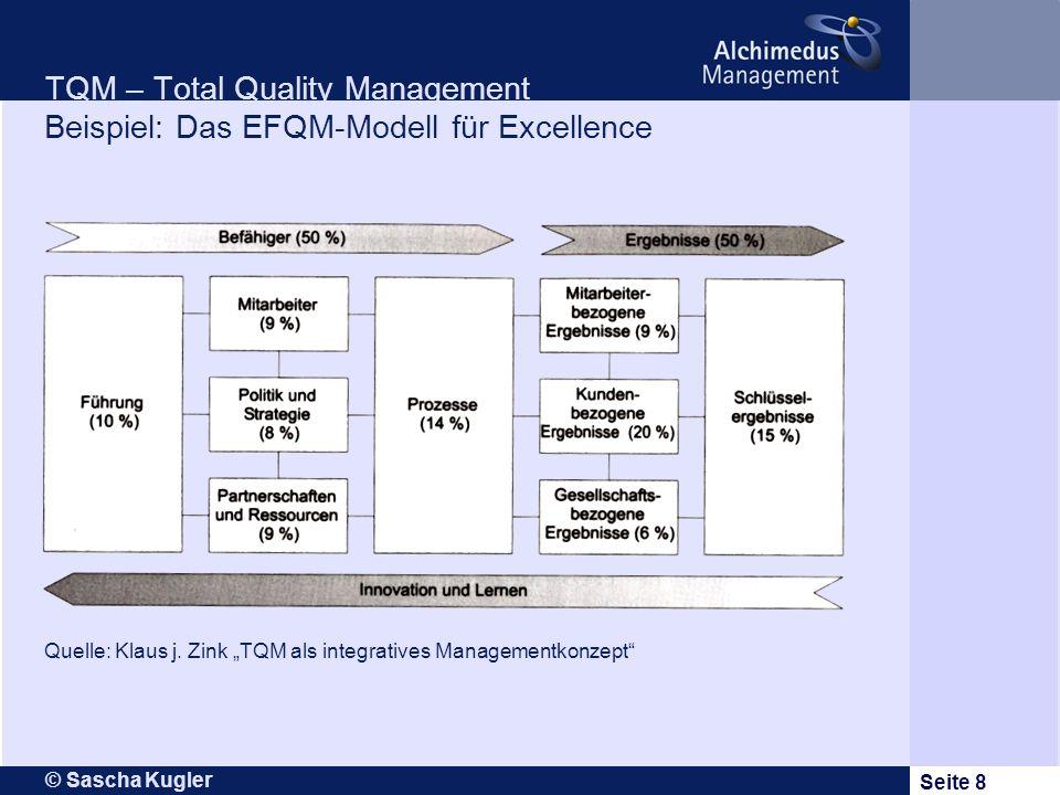 © Sascha Kugler Seite 8 TQM – Total Quality Management Beispiel: Das EFQM-Modell für Excellence Quelle: Klaus j. Zink TQM als integratives Managementk