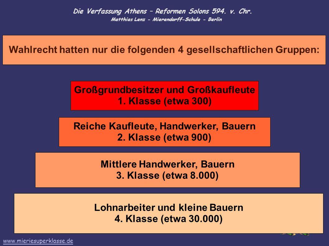 Die Verfassung Athens – Reformen Solons 594. v. Chr. Matthias Lenz - Mierendorff-Schule - Berlin Wahlrecht hatten nur die folgenden 4 gesellschaftlich