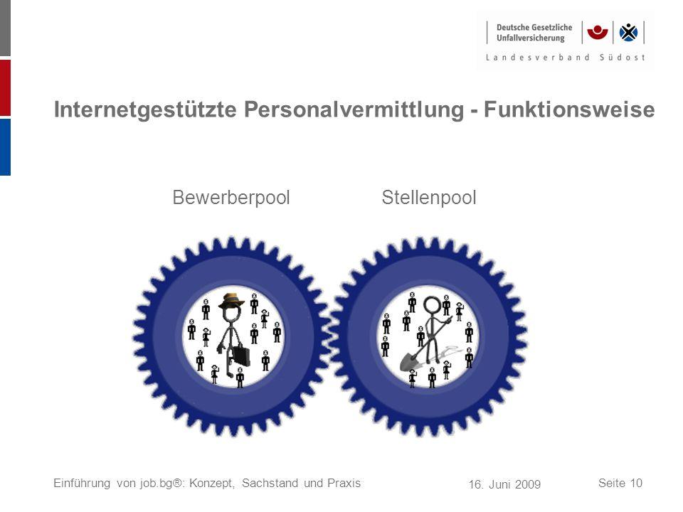 16. Juni 2009 Einführung von job.bg®: Konzept, Sachstand und PraxisSeite 10 Internetgestützte Personalvermittlung - Funktionsweise BewerberpoolStellen