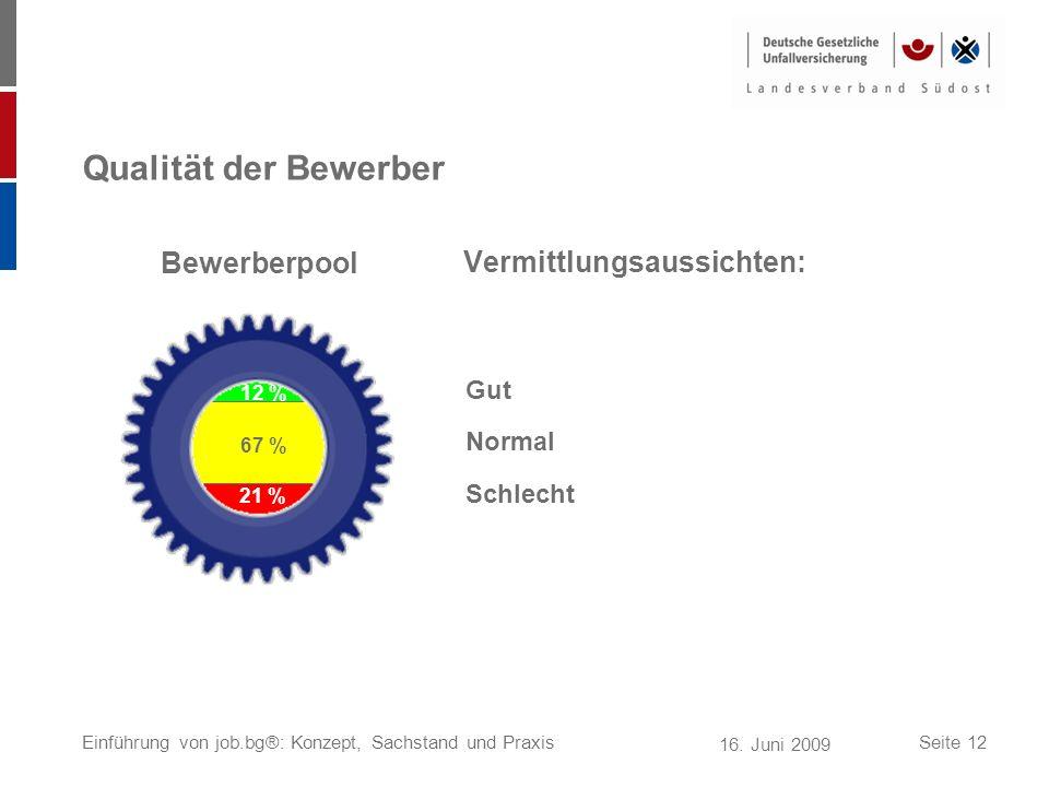 16. Juni 2009 Einführung von job.bg®: Konzept, Sachstand und PraxisSeite 12 Qualität der Bewerber Vermittlungsaussichten: 12 % 67 % 21 % Gut Normal Sc