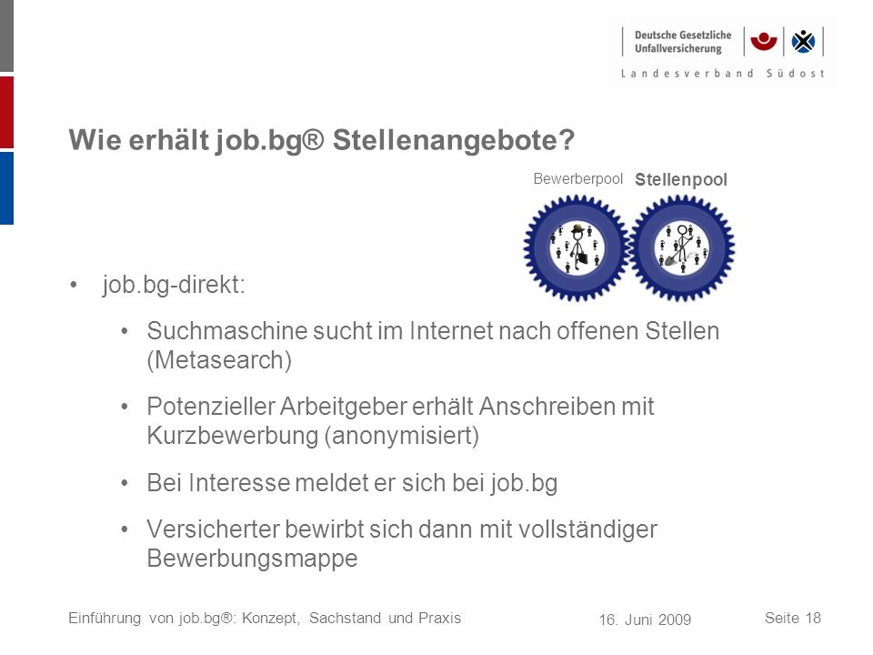 16. Juni 2009 Einführung von job.bg®: Konzept, Sachstand und PraxisSeite 18 Wie erhält job.bg® Stellenangebote? job.bg-direkt: Suchmaschine sucht im I