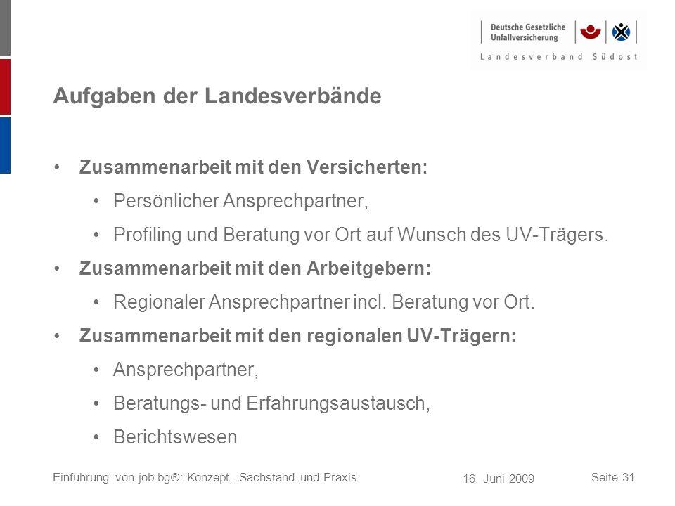 16. Juni 2009 Einführung von job.bg®: Konzept, Sachstand und PraxisSeite 31 Aufgaben der Landesverbände Zusammenarbeit mit den Versicherten: Persönlic