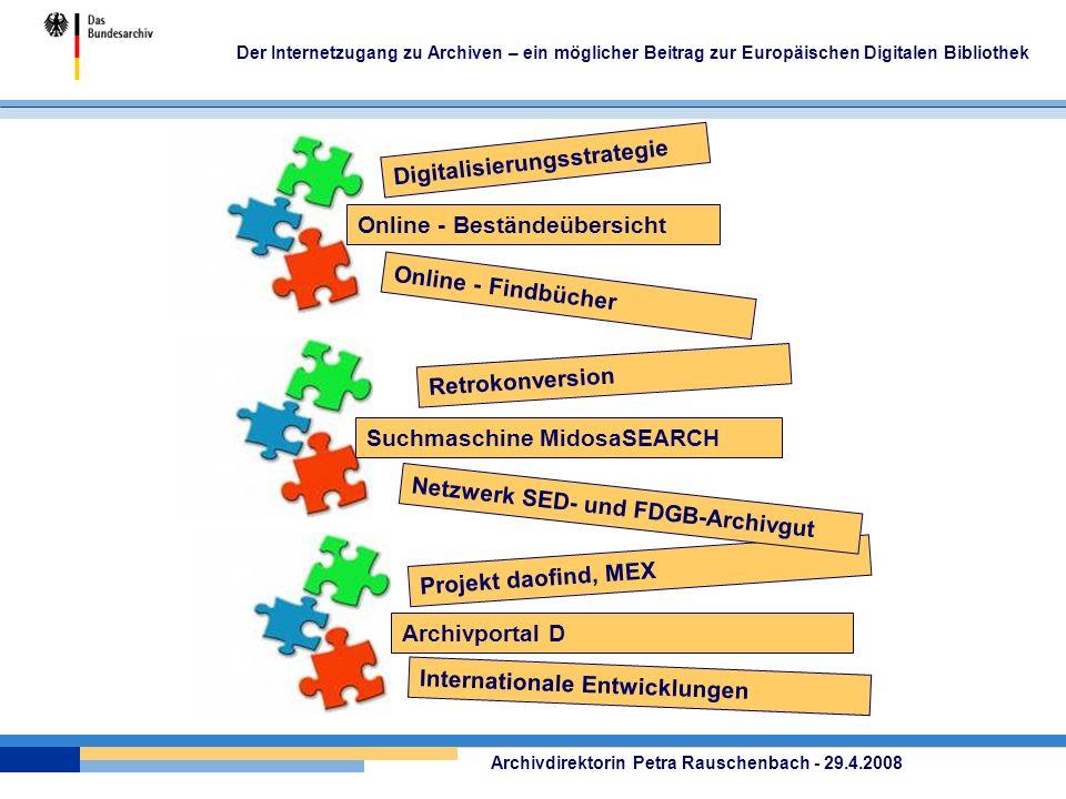 Der Internetzugang zu Archiven – ein möglicher Beitrag zur Europäischen Digitalen Bibliothek Archivdirektorin Petra Rauschenbach - 29.4.2008 Digitalis
