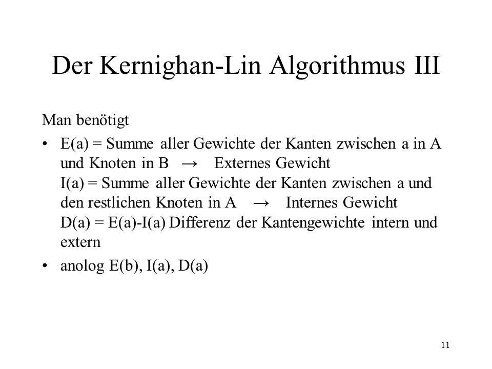 11 Der Kernighan-Lin Algorithmus III Man benötigt E(a) = Summe aller Gewichte der Kanten zwischen a in A und Knoten in B Externes Gewicht I(a) = Summe