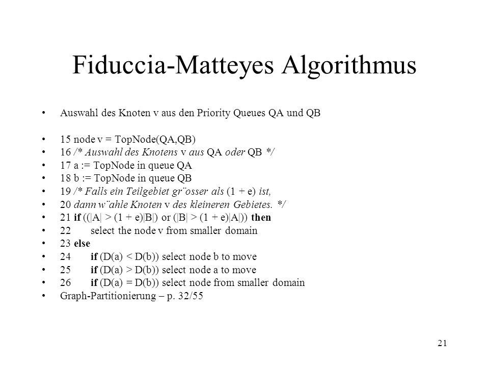 21 Fiduccia-Matteyes Algorithmus Auswahl des Knoten v aus den Priority Queues QA und QB 15 node v = TopNode(QA,QB) 16 /* Auswahl des Knotens v aus QA