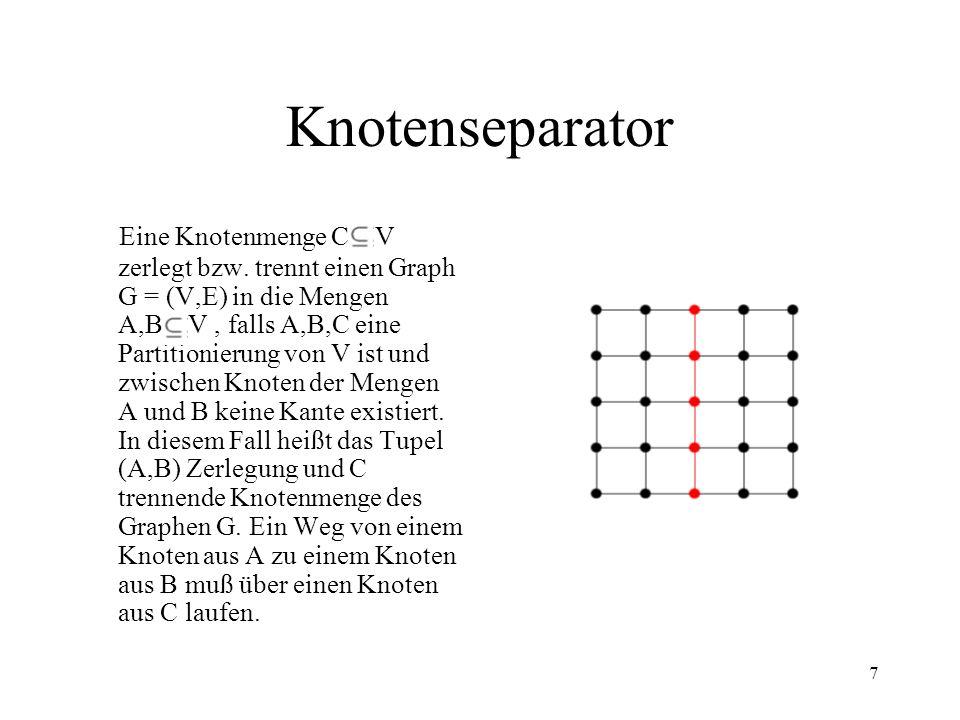 7 Knotenseparator Eine Knotenmenge C V zerlegt bzw. trennt einen Graph G = (V,E) in die Mengen A,B V, falls A,B,C eine Partitionierung von V ist und z