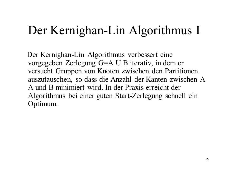 9 Der Kernighan-Lin Algorithmus I Der Kernighan-Lin Algorithmus verbessert eine vorgegeben Zerlegung G=A U B iterativ, in dem er versucht Gruppen von